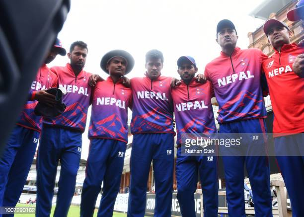 Nepal players have a team talk during the T20 Triangular Tournament match between The Netherlands and Nepal at Lords on July 29 2018 in London England