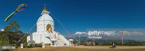 nepal pokhara world peace stupa annapurna mountains panorama - machapuchare stock photos and pictures