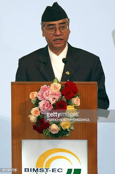 Nepal Prime Minister Sher Bahadur Deuba speaks during the BIMSTEC Summit opening at Foreign Ministry in Bangkok 31 July 2004 The first summit of...