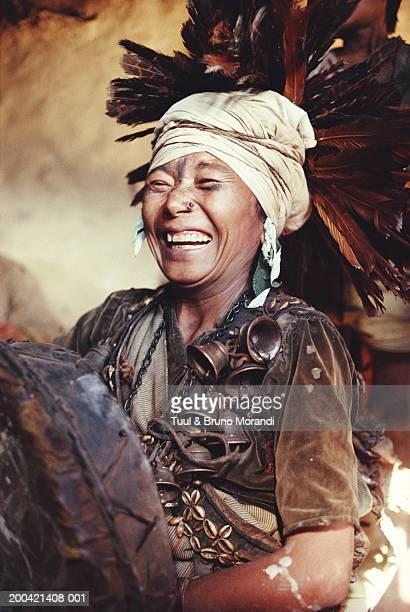 Nepal, Rukum, Kham Magar Shaman, smiling
