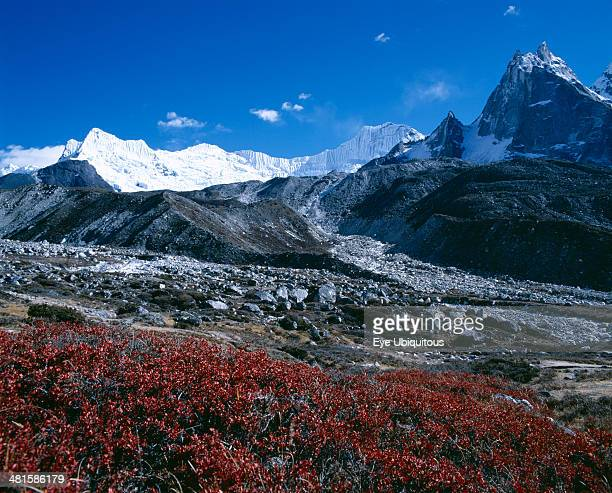Nepal Sagarmatha National Park Himalayan mountain peaks with glacial debris in the foreground