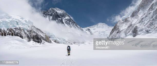 nepal, solo khumbu, everest, mountaineer at western cwm - snow stock pictures, royalty-free photos & images