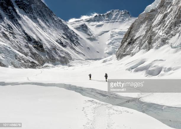 Nepal, Solo Khumbu, Everest, Sagamartha National Park, Mountaineers at Western Cwm