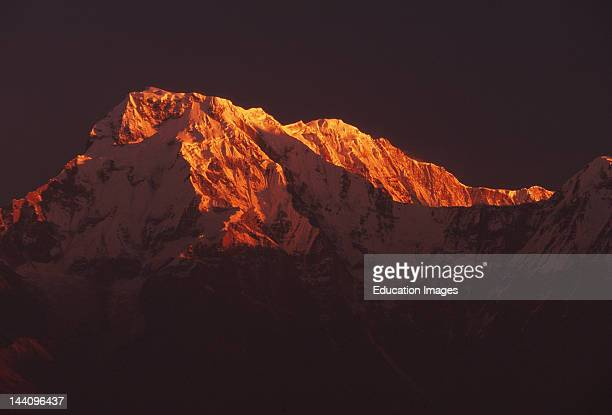 Nepal, The Hiunchuli Peak Of The Annapurna South Range Himalayans.