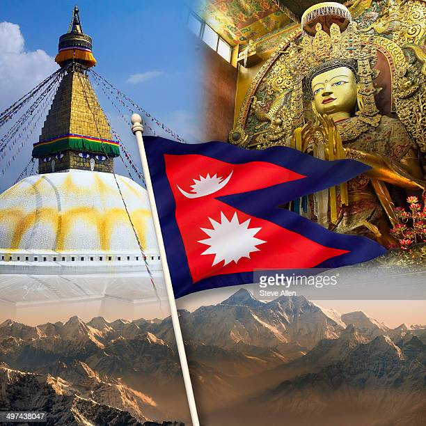 nepal tourist destinations - nepali flag stock pictures, royalty-free photos & images