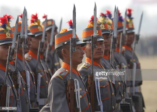 Nepalese arm police force personnel take part in the Democracy Day parade in Kathmandu Nepal February 18 2017 The 67th Democracy Day was being...