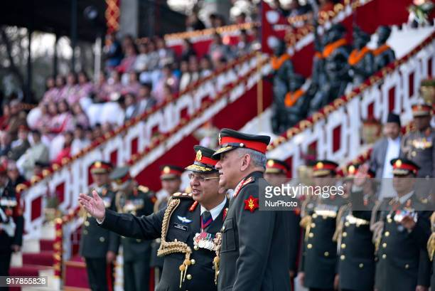 Nepalese Army Chief Rajendra Chhetri welcome Indian Army Chief Bipin Rawat during Army Day celebration on Tuesday February 13 2018 in Tudikhel Ground...