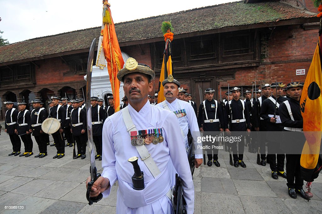Nepalese Army members of Gurju Paltan performs official... : News Photo