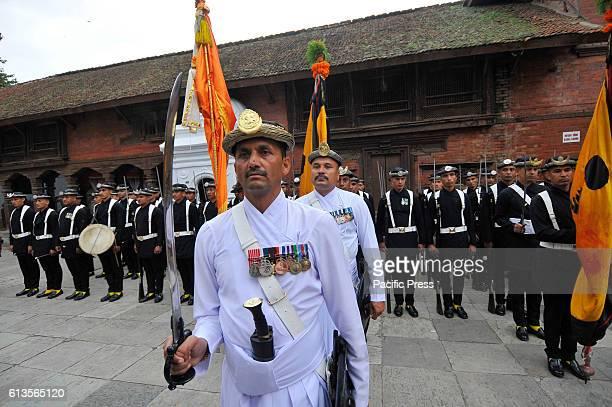SQUARE KATHMANDU NEPAL KATHMANDU NP NEPAL Nepalese Army members of Gurju Paltan performs official rituals during Fulpati Dashain festival at...