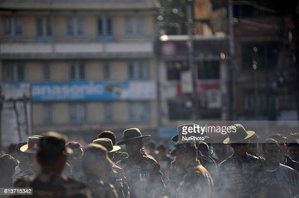 Nepalese army personeel on the occasion of Navami ninth day of Dashain Festival at Basantapur Durbar Square Kathmandu Nepal on Monday October 10 2016...