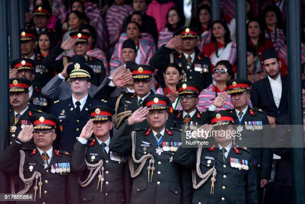 Nepalese Army personnel attends during Army Day celebration on Tuesday February 13 2018 in Tudikhel Ground Kathmandu Nepal