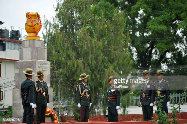 Nepalese army personnel guard around the martyrs at their memorial in Lainchaur Kathmandu Nepal on Wednesday June 07 2017 after taking the oath at...