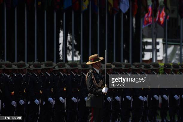 Nepalese Army personnel offer a guard of honor towards President Bidya Devi Bhandari before leave for the state visit to the Republic of the Union of...
