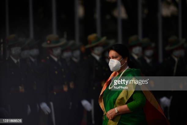 Nepalese Army personnel offer a guard of honor towards President Bidya Devi Bhandari before leave for two-day official state visit to Bangladesh on...