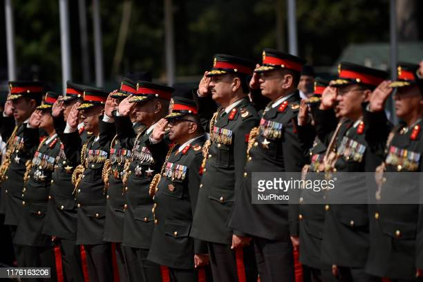 Nepalese Army personnel offer honor towards President Bidya Devi Bhandari before leave for the state visit to the Republic of the Union of Myanmar on...