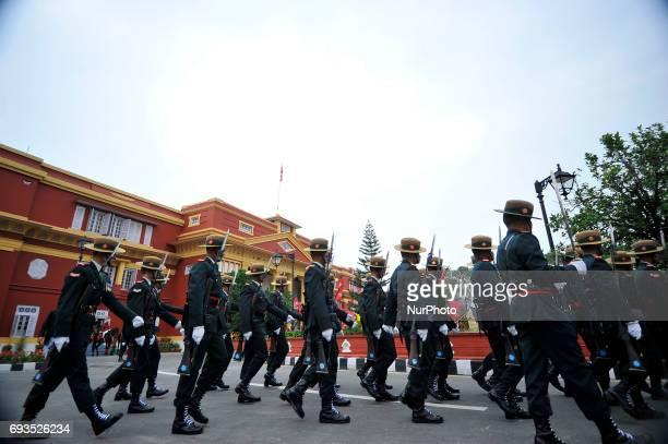 Nepalese army personnel parade around the Sheetal Niwas Kathmandu Nepal on Wednesday June 07 2017 The President of the Nepali Congress Sher Bahadur...