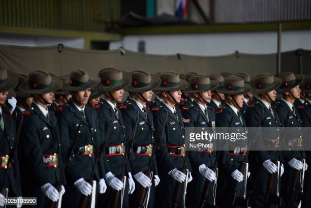 Nepalese army personnel ready for the guard of honor during Sri Lankan President Maithripala Sirisena arrives for BIMSTEC 2018 in Tribhuwan...
