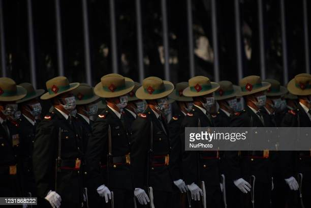 Nepalese Army personnel ready to offer a guard of honor towards President Bidya Devi Bhandari before leave for two-day official state visit to...