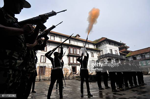 Nepalese Army Personnels of Gurujuko Paltan gun fire during the Gatasthapana first day of Biggest Hindu festival Dashain at Nasal Chowk Basantapur...