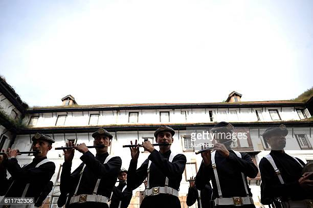 Nepalese Army Personnels of Gurujuko Paltan plays traditional instruments during the Gatasthapana first day of Biggest Hindu festival Dashain at...