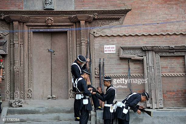 Nepalese Army Personnels of Gurujuko Paltan prepare for gun fire during the Gatasthapana first day of Biggest Hindu festival Dashain at Nasal Chowk...