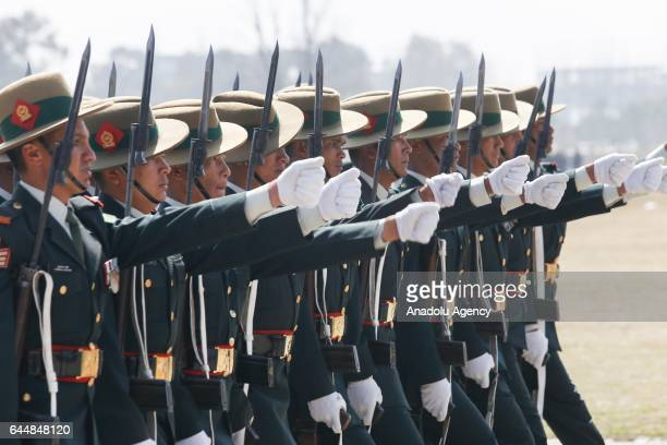 Nepalese Army soldiers march during the Army Day celebration in Kathmandu Nepal on February 24 2017 Nepal Army Day is celebrated annually on Maha...