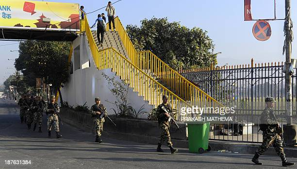 Nepalese army soldiers patrol during a general strike called by the 33party alliance and led by the Communist Party of NepalMaoist in Kathmandu on...