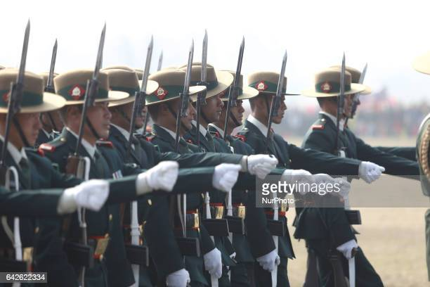 Nepalese army soldiers take part in the Democracy Day parade in Kathmandu Nepal February 18 2017 The 67th Democracy Day was being observed Saturday...
