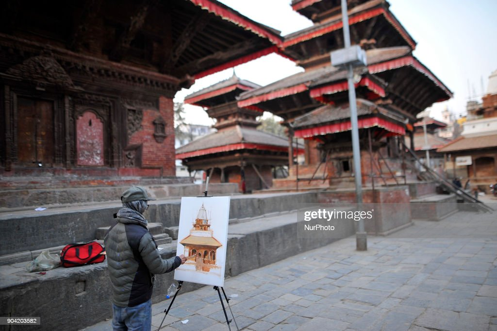 A Nepalese artist painting the monument at Basantapur Durbar Square, Kathmandu, Nepal on Friday, January 12, 2018.