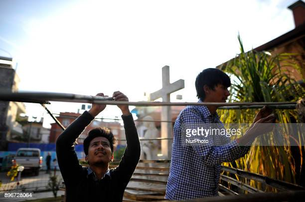 Nepalese Christian youth volunteers preparing cowshed showing the Birth of Christ at holy night for the upcoming celebration of Christmas on 25th of...