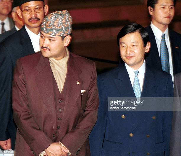Nepalese Crown Prince Dipendra Bir Bikram Shah Dev left stands beside Japanese Crown Prince Naruhito during a visit to the EdoTokyo Museum April 26...