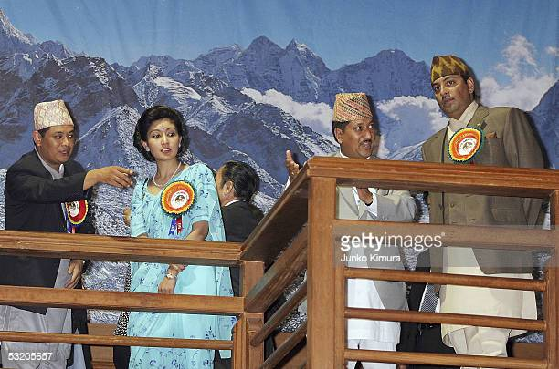 Nepalese Crown Prince Paras Bir Bikram Shah Dev and his wife Crown Princess Himani Rajya Laxmi Devi Shah visit the Nepalese Pavillion at the 2005...