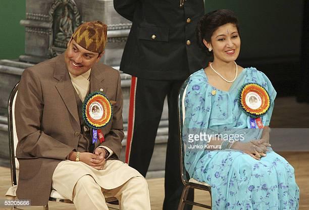 Nepalese Crown Prince Paras Bir Bikram Shah Dev and his wife Crown Princess Himani Rajya Laxmi Devi Shah attend a ceremony at the 2005 World...
