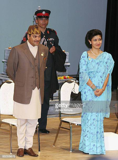 Nepalese Crown Prince Paras Bir Bikram Shah Dev and his wife Crown Princess Himani Rajya Laxmi Devi Shah attend a ceremony at the 2005 World...