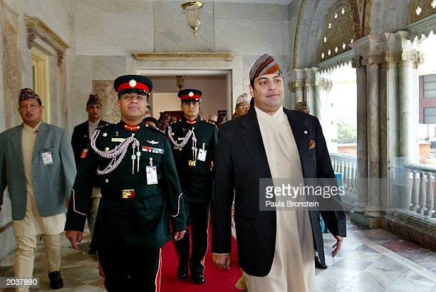 Nepalese Crown Prince Paras Bir Bikram Shah Dev arrives for the ceremonies celebrating the 50th anniversary of the conquest of Mount Everest May 29...