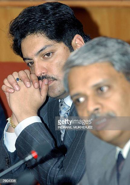Nepalese Crown Prince Paras Bir Bikram Shah Dev listens to Chief Operating Officer of India's second largest software exporter Infosys Technologies...
