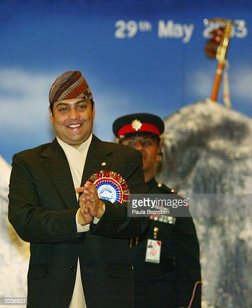 Nepalese Crown Prince Paras Bir Bikram Shah Dev smiles during ceremonies celebrating the 50th anniversary of the conquering of Mount Everest May 29...