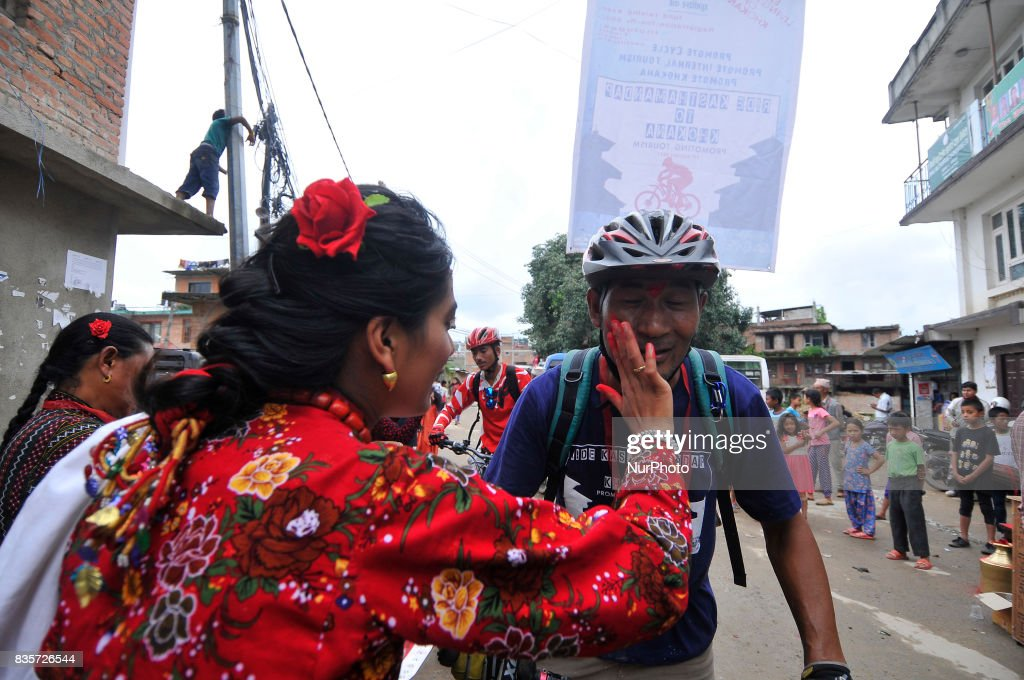 Nepalese cyclist welcome after participating 20Km Ride to Khokana, Cycling for the Cause, Contribute to Restoring Cultural Heritage program from Kasthamandap to Khokana, organised by Khokana Reconstruction and Rehabilitation Committee on Saturday, August 19, 2017.