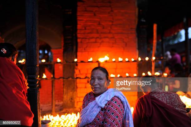 Nepalese Devotee arrive to offer ritual prayer during the tenth day of Dashain Durga Puja Festival in Bramayani Temple Bhaktapur Nepal on September...