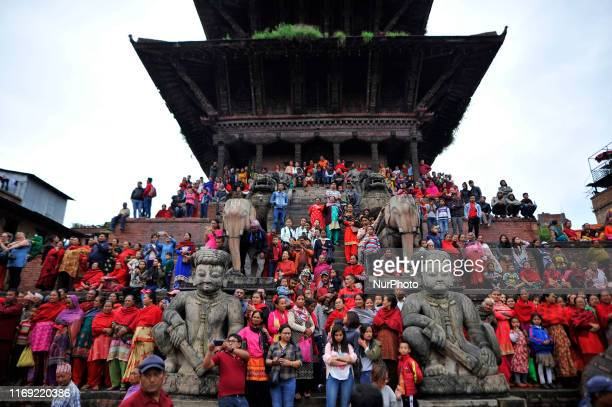 Nepalese devotees observing Pulu Kisi dance during the last day of Indra Jatra festival at Bhaktapur Nepal on Wednesday September 18 2019 The week...