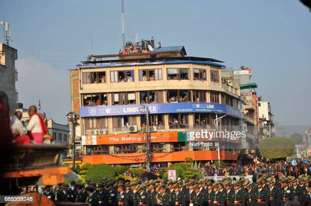 Nepalese devotees observing the celebration of Bhoto Jatra festival at Jawalakhel Patan Nepal on Thursday May 25 2017 Rato Machindranath is also said...