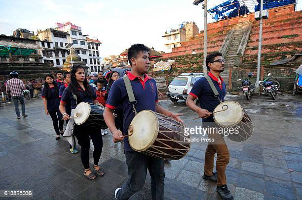 SQUARE KATHMANDU NEPAL KATHMANDU NP NEPAL Nepalese devotees plays traditional instruments on the occasion of Navami ninth day of Dashain Festival at...