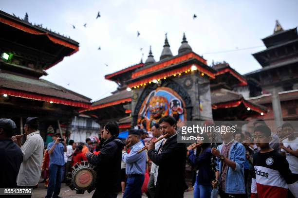 Nepalese devotees plays traditional instruments on the occasion of Navami ninth day of Dashain Festival at Basantapur Durbar Square Kathmandu Nepal...