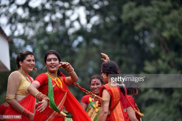 Nepalese devotees woman dance during Teej festival celebrations at Pashupatinath Temple Katmandu Nepal on Wednesday September 12 2018 The Teej...