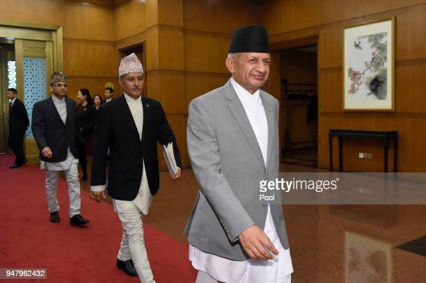 Nepalese Foreign Minister Pradeep Kumar Gyawali arrives for a meeting with Chinese Foreign Minster and State Counselor Wang Yi at the Zhongnanhai...