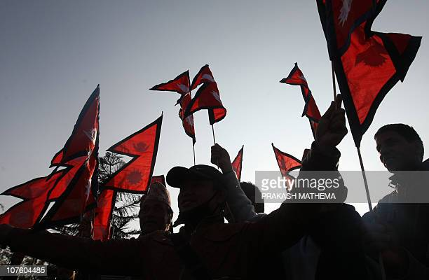 Nepalese former crown prince Paras Shah's supporters shout slogan against the arrest of Paras Shah in Kathmandu on December 15 2010 The former crown...