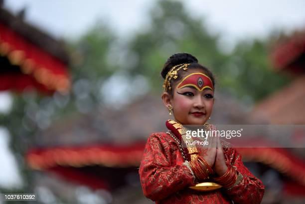 A Nepalese girl dressed as living goddess Kumari participats in Kumari Puja at Hanuman Dhoka Basantapur Durbar Square in Kathmandu September 22 2018...