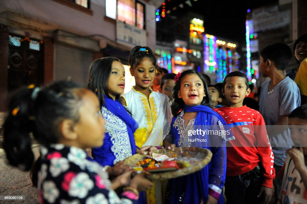 Laxmi Puja during Tihar or Deepawali and Diwali celebrations : News Photo
