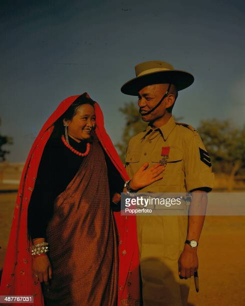 1945 Nepalese Gurkha Tul Bahadur Pun with his wife Thanmati following the presentation of his Victoria Cross during World War Two Nepal March 1945