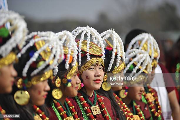 Nepalese Gurung community girl smiles in a traditional attire during the celebration of Tamu Lhosar or Losar at Kathmandu Nepal on Friday December 30...